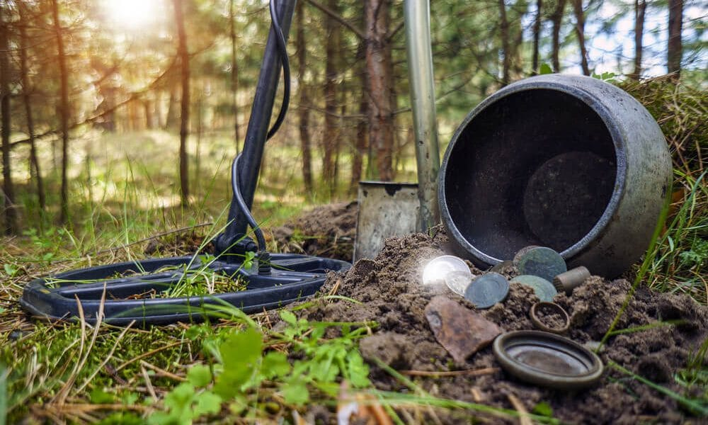 detectorist find coins in the jungle